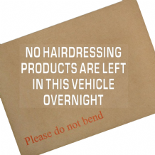 1 x No Hairdressing Products are left in this vehicle overnight-Car Window Sticker-Self Adhesive